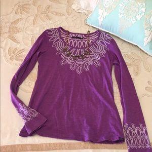 PrAna S purple yoga long sleeve shirt boho top